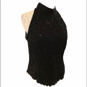 Vintage Adrianna Papell Beaded Sleeveless Top